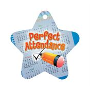 "Perfect Attendance Checkmark Star Award Tag With 4"" Chain"