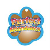 "Perfect Attendance Brown Paw Award Tag With 4"" Chain"