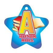 "A Honor Roll Blue Star-Shaped Award Tag With 24"" Chain"