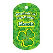 "Student Of The Month March Award Tag With 4"" Chain"