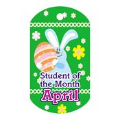 "Student Of The Month April Award Tag With 4"" Chain"