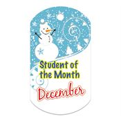 "Student Of The Month December Award Tag With 24"" Chain"