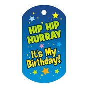 "Hip Hip Hurray It's My Birthday Award Tag With 24"" Chain"