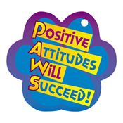 "Positive Attitudes Will Succeed! PAWS Laminated Award Tag With 4"" Chain"