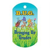 "B.U.G-Bringing Up Grades Laminated Award Tag With 24"" Chain"