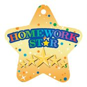 "Homework Star Laminated Award Tag With 4"" Chain"