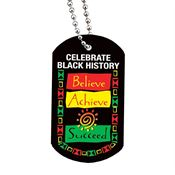 Celebrate Black History: Believe, Achieve, Succeed Laminated Tag With 4