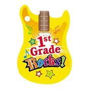 1st Grade Rocks! Guitar-Shaped Award Tag With 4
