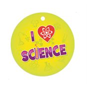 "I Love Science Laminated Dog Tag With 4"" Chain"