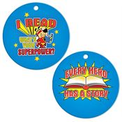 "I Read, What's Your Superpower? Laminated Tag With 4"" Chain"