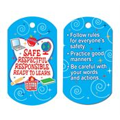 "Safe, Respectful, Responsible, Ready To Learn Award Tag With 24"" Chain"