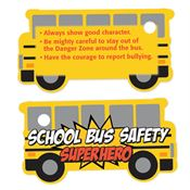 School Bus Safety Superhero Laminated Tag With 4