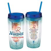 Nurses: Caring Hearts Healing Hands Double-Wall Acrylic Tumbler With Fruit Infuser & Straw