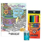 Keep Calm & Color On Adult Coloring Book, Pencils & Sharpener Gift Set - Personalization Available