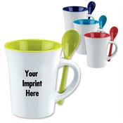 10 Oz.Spooner Mug With Matching Spoon In The Handle Slot - Personalization Available