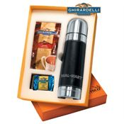 Leather/Stainless Steel Thermos With Hot Cocoa And Chocolate - Personalization Available