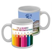 11 Oz. Dishwasher Safe White Ceramic Mug - Wraparound Full Color Personalization Available
