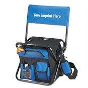 Folding Cooler Chair With Backrest & Mesh Water Bottle Pockets - Personalization Available