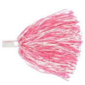 "Pink & White 12"" Streamers Pom Poms - Personalization Available"