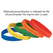 Debossed Custom Youth Silicone Bracelet - Personalization Available