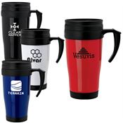 Tough Double Insulated Wall Polypropylene Mug With Handle & Black Slider Lid - Personalization Available
