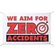 We Aim For Zero Accidents 6' x 4' Vinyl Safety Banner