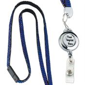 Dome Badge With 1-Color Imprint Retractable Bling Lanyard - Personalization Available