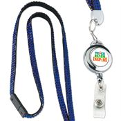Dome Badge With Full-Color Imprint Retractable Bling Lanyard - Personalization Available