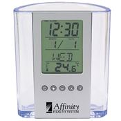 Clear Pen Cup With Digital Alarm Clock & Thermometer - Personalization Available