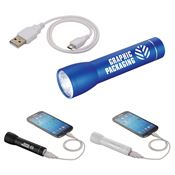 Beacon Aluminum Flashlight Power Bank - Personalization Available