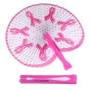 Folding Fan With Breast Cancer Ribbon Design - Personalization Available