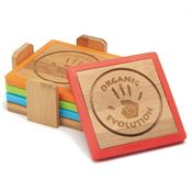 Bamboo and Silicone Coaster Set - Personalization Available