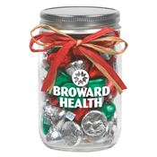 Holiday Hershey's® Kisses In 12-oz. Mason Jar With Raffia Bow