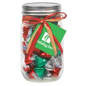 Holiday Hershey's® Kisses In 16-oz. Mason Jar With Raffia Bow