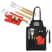 BBQ Now Apron And 7-Piece BBQ Set - Personalization Available