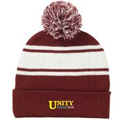 Two-Tone Knit Pom Pom Beanie - Personalization Available