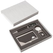 Carbon Fiber Pen, Business Card Case & Keyring Gift Set - Personalization Available