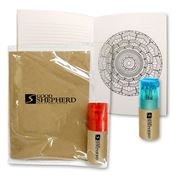 iDudle™ Mandala Coloring Book Notepad Kit with Color Pencil Set - Personalization Available