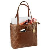 Cutter & Buck® Bainbridge Quilted Leather Tote - Personalization Available