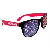 American Flag Neon Red Billboard Sunglasses - Personalization Available
