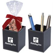 Faux Leather Pen Cup Set with Chocolate Almonds - Personalization Available