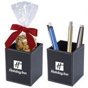 Faux Leather Pen Cup Set With Cashews - Personalization Available