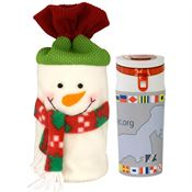Full-Color Water Bottle with Holiday Snowman Bag - Personalization Available