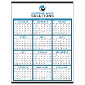 Span-A-Year Non-Laminated 2019 Time Management Wall Calendar Blue Grid - Personalization Available
