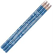 Perfect Attendance Blue Sparkle Foil Pencils