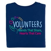 Volunteers: Hands That Share, Hearts That Care Positive 2-Sided T-Shirt - Personalization Available