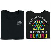 Our Staff Goes Above, Our Students Go Beyond 2-Sided Awareness T-Shirt - Personalized