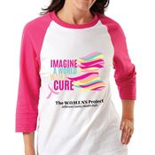 Imagine A World With A Cure Gildan® Heavy Cotton 3/4 Raglan Sleeve Baseball T-Shirt - Personalization Available
