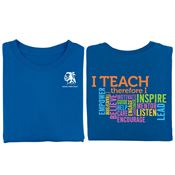 I Teach Word Cloud 2-Sided T-Shirt - Personalization Available