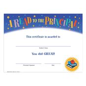 I Read To The Principal Gold Foil-Stamped Certificate